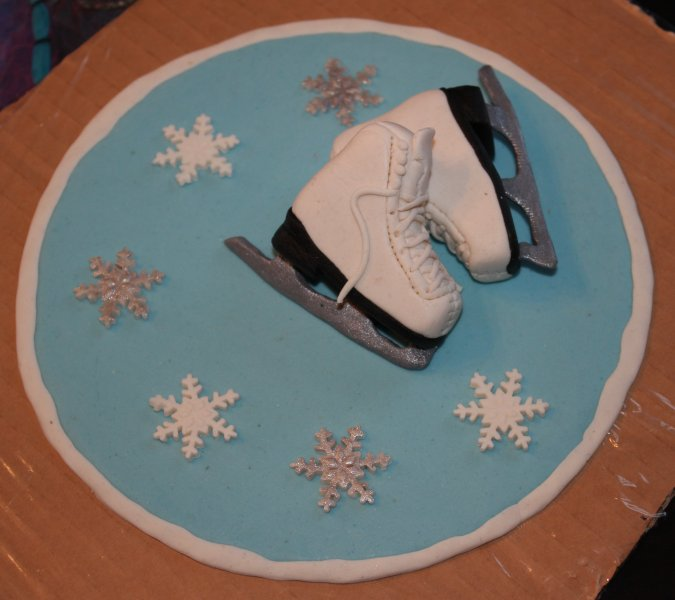 Cake Topper med skridskor och snöflingor