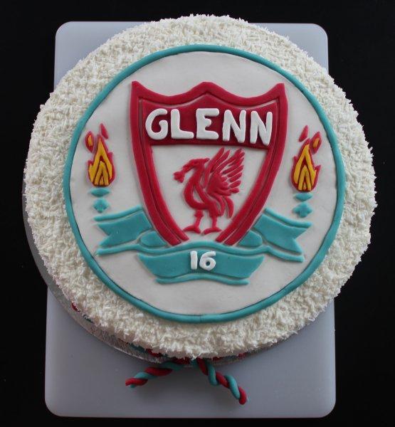 Liverpool fc-tårta uppifrån