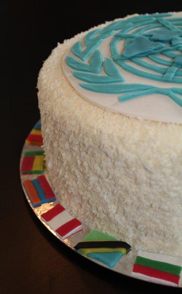 FN-tårta kant med flaggor