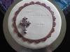 konfirmationstårta lila kors rundel